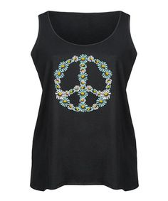 Look what I found on #zulily! Black Floral Peace Sign Flowy Tank - Plus #zulilyfinds