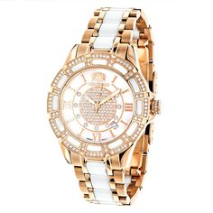 Women's Ceramic Watches collection: This Ladies Rose Gold Plated Diamond Watch by Luxurman Galaxy features a unique two-tone combination of 18k rose gold plated stainless steel case case and white ceramic, a luxurious white MOP (mother of pearl) dial and 1.25 carats of real diamonds. The gold-toned numeric hour markers on this unique white ceramic watch add to the classic look and a subtle window between four and five o'clock position presents the date. With a durable mineral crystal,...