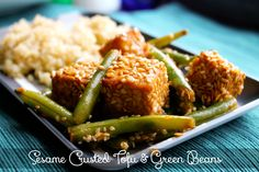 SESAME CRUSTED TOFU AND GREEN BEANS makes 4 servings  Ingredients:  MARINADE  10 oz sprouted firm tofu 2 tablespoons reduced sodium soy sauce (there are gluten-free soy sauces out there if you need this to be gf) 1 tablespoon lite seasoned rice vinegar 2 teaspoons maple syrup 1 clove of garlic, minced 1/2 teaspoon minced ginger red pepper flakes (optional)