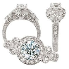 Amazon.com: 18k Elite Collection created 6.5mm round moissanite engagement ring with natural diamond halo: Jewelry $3,300.
