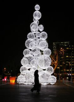 Outdoor Christmas Tree in Istanbul, Turkey Beautiful Christmas, White Christmas, Christmas Lights, Christmas Decorations, Bubble Christmas, Modern Christmas, Tree Decorations, All Things Christmas, Christmas Holidays