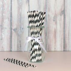 Striped Party Straws - Black from The TomKat Studio Shop www.shoptomkat.com