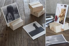 DIY wood block photo display, via Artifact Uprising. Can paint/ decorate the wood blocks to add a little color and pop! Picture Holders, Photo Holders, Card Holders, Diy Photo, Wood Photo, Wood Crafts, Diy Crafts, Diy Wood, Artifact Uprising