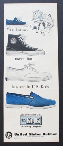 1957 U.S. Keds shoes blue label United States Rubber vintage print ad