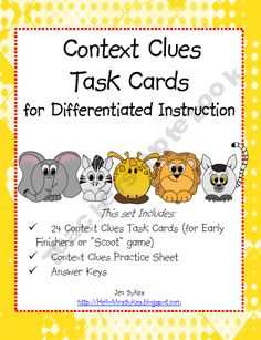 Context Clues - Task Cards, Scoot, Assessment product from HelloMrsSykes on TeachersNotebook.com