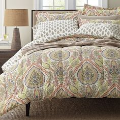 Indira 300-Thread Count Wrinkle-Free Sateen Bedding – A touch of the exotic for the bed, lush paisley medallions on this floral bedding draw inspiration from the natural world in autumnal shades of persimmon, russet, green tea, and mocha on cream.