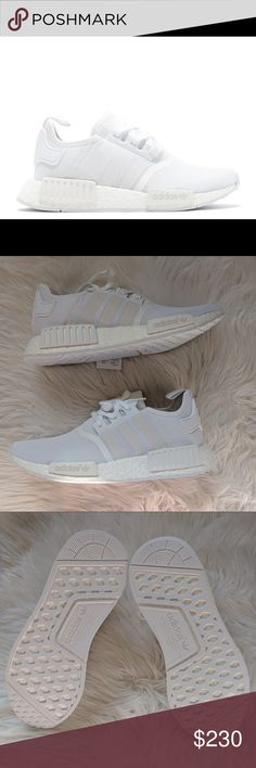 Adidas NMD R1 triple white Brand new! I bought two, one for my bf and an extra one. Have never been worn. Perfect for casual outing, or gym, extremely comfortable. They are white so it will make your outfit look really fresh! Still has tag on it, in its original box and it is no longer available in stores. Adidas Shoes Sneakers