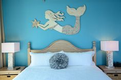 Made to Order Large Hand Made Mermaid Wall Art with Beach Shell Mosaic, starfish, seashells, mosaic Sea, Ocean Art