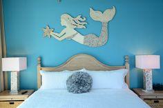 Made to Order Large Hand Made Mermaid Wall Art with Beach Shell Mosaic, starfish, seashells, mosaic Sea, Ocean Art