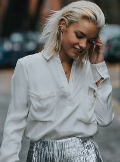 You can unbutton the shirt all the way to create a V-neck, which creates an ultra feminine touch to the blouse. The sides have a little slit, in case you want to tuck it into your skirt or trousers. - Green Fashion by NOUMENON #vegan #veganfashion #ethicalfashion