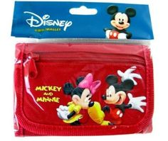 "Mickey & Minnie Mouse RED Tri-Fold Wallet with coin pocket. Official licensed product. Slot for ID, Picture or Credit Card. Coin Pocket Inside. Size 4.5"" x 3.5""."