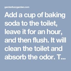 Add a cup of baking soda to the toilet, leave it for an hour, and then flush. It will clean the toilet and absorb the odor. This site also has 75 other uses for baking soda! Diy Cleaning Products, Cleaning Hacks, Organization Hacks, Organizing, Clean Toilet Bowl, Baking Soda Uses, House Hacks, Toilet Cleaning, Yard Ideas
