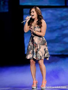 """Skylar wore this dress by Zimmerman, shoes by Arden B., necklace and bracelet by Virgin, Saints & Angels and earrings by LIVE! On Sunset for her duet performance of """"Islands In The Stream"""" with Colton Dixon at the Top 8 performance show."""