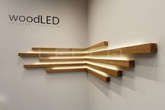 Wooden decoration for interiors. Square LED lines made of wood. LED … - All About Decoration Corner Lighting, Home Lighting, Ceiling Design, Wall Design, House Design, Wooden Lamp, Wooden Decor, Home Interior Design, Interior Decorating