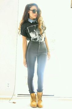 collared blouse + large tee + hihg jenas + boots, looks cool on her but not sure I could pull off
