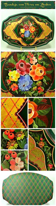 Atelier Gina Pafiadache: Zhostovo - Bandeja com Flores www.ginapafiadache.com