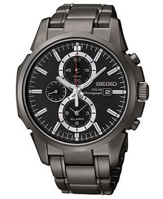 Seiko Watch, Men's Solar Chronograph Black Ion Finish Stainless Steel Bracelet 42mm SSC095 - Men's Watches - Jewelry & Watches - Macy's