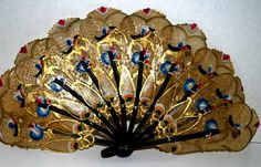 Gold painted hand fan Art nouveau fan painted parchment paper decorated hand fan…