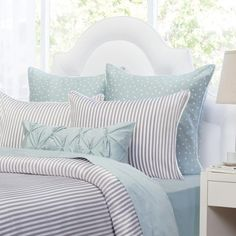 Shop this striped duvet cover from Crane & Canopy. The Larkin Grey duvet cover, complete with modern stripes and a coastal hue, looks chic and feels soft. Damask Bedding, Green Bedding, Chic Bedding, Bedding Decor, Modern Bedding, Bedroom Decor, Bedroom Ideas, Orange Bedding, Striped Bedding