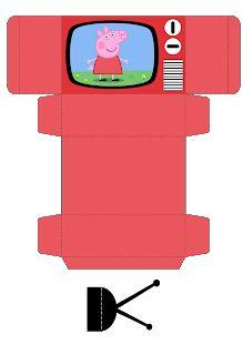 Passatempo da Ana: Caixa TV Peppa E George, George Pig, Anime Crafts, Kawaii Crafts, Paper Toys, Paper Crafts, Pig Birthday Cakes, Diy Doll Miniatures, Paper Dolls Printable