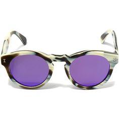 Illesteva Cream Leonard Flat Sunglasses ($220) ❤ liked on Polyvore featuring accessories, eyewear, sunglasses, illesteva glasses, illesteva sunglasses, summer sunglasses, retro sunglasses and round acetate sunglasses