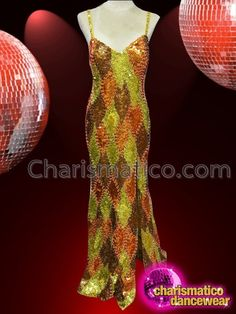 CHARISMATICO bright multi colored beaded dance drag queen gold gown  #charismatico #dragqueenoutfits  #dragoutfits #dragqueencostume #dragcostume Drag Queen Costumes, Drag Queen Outfits, Gold Gown, Sequin Gown, Patchwork Designs, Dance Wear, Color Combinations, Sequins, Jambalaya