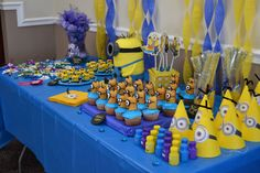 Minion Party!! *Sorry no link!! I don't have a website* For visual ideas...we filled up her dessert table with popcorn balls, brownie bites, chocolate covered pretzel rods, cupcakes topped with Twinkie minions, party hats, bubbles, and her awesome minion cake!!