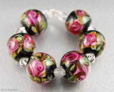 Pink Watercolor Roses, Handmade Artisan Lampwork Glass Beads, jewelry supplies, SRA, by @LoriBergmann
