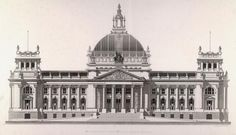 """Berlin / Reichstag (built: 1884–94; Arch.: Paul Wallot).  """"Reichstags building in Berlin. West facade"""".  Engraving by Eduard Obermayer (1831–1916)."""