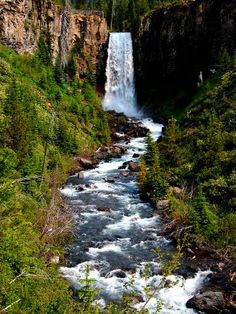 Oregon - Waterfalls in the state capital of Salem. OR became the 33rd state on February 14, 1859.
