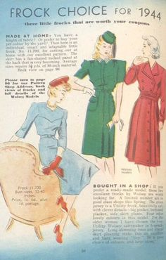 Little frocks that are worth your coupons - 1944 Make Do And Mend, How To Make, 1940s Fashion, Frocks, Coupons, Fabric, Pattern, Stuff To Buy, Tejido