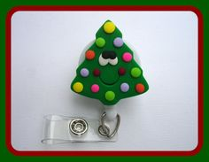 Retractable badge holder  Oh Christmas Tree by clippiecollections