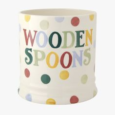 GOT ONE - would like the black toast domestic goddess one too.  Polka Text Wooden Spoon Utensils Jar