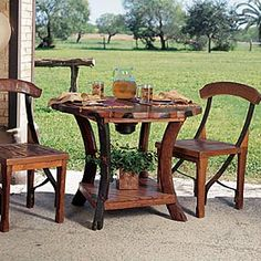 Wagon Wheel Table & Frontier Chairs ( for the pool area) Wagon Wheel Table, Western Furniture, House Decorations, Logs, Windmill, Outdoor Ideas, Metal Working, Outdoor Living, Diy Home Decor