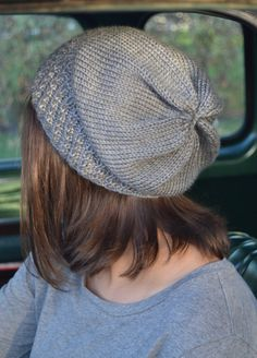 Knit Slouch Beanie Mock Cable Brim Hat Hand Knit in Grey Heather by Gone2Pieces