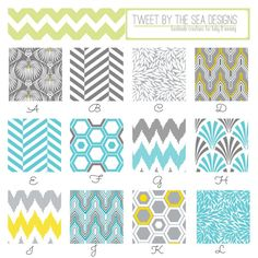 Premium Crib Sheet Set (3 Custom Sheets, 100% Cotton Fabric in Aqua, Gray, & Yellow Design Studio Collection)