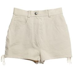 Pre-owned Short shorts in beige ($400) ❤ liked on Polyvore featuring shorts, beige, micro shorts, mini shorts, beige shorts, hot shorts and cord shorts