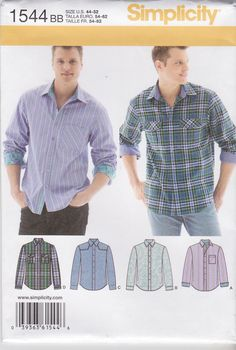 "Simplicity Sewing Pattern 1544 Men's Size 44-52"" Button Front Long Sleeve Shirts   Simplicity+Sewing+Pattern+1544+Men's+Size+44-52""+Button+Front+Long+Sleeve+Shirts"