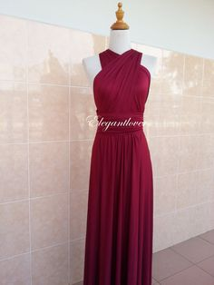 "Maroon Bridesmaid Dress Infinity by Elegantlovers. ""How do you feel if your bridesmaids had the same dress just wrapped differently?"" Check out infinity dresses!!!!"
