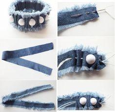 Pulseira feita com tira de jeans, não é linha de costura...use elástico fino.