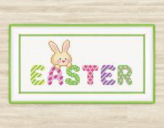 Buy 2 get 1 free Easter Bunny Cross Stitch Pattern rabbit