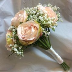 An artificial wedding bouquet of blush pink silk roses Gypsophilia Rose And Gypsophilia Bouquet, Gypsophila Wedding, Rose Wedding Bouquet, Pink Bouquet, Blush Pink Bridesmaids, Bridesmaid Flowers, Artificial Wedding Bouquets, Artificial Flowers, Prom Flowers