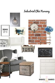 Beautiful Industrial Chic Nursery Design which could be used for either a girl or boys nursery with a few swaps!