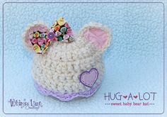 Newborn Valentine Bear Hat Photography Prop by whimsylaneboutique