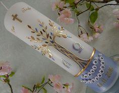 Taufkerze Kommunionkerze Kerze zur Taufe Kommunion Lebensbaum Junge Mädchen NEU