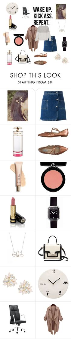 """My ordinary workday"" by chloe1013 ❤ liked on Polyvore featuring Courrèges, Prada, Fratelli Rossetti, Armani Beauty, Gucci, Chanel, Nashelle, Kate Spade, Cara and Magenta"