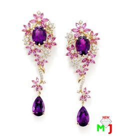Stunning amethyst diamond earrings by new maria jewellers​