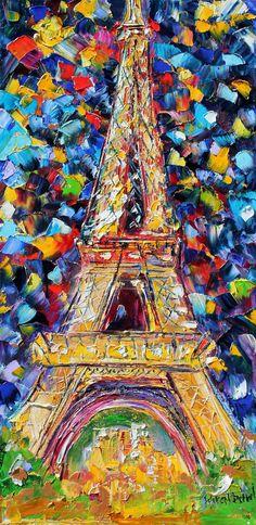 Paris Eiffel Tower oil on canvas Landscape by Karensfineart