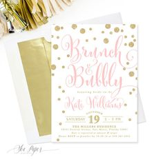 Brunch Bubbly Bridal Shower Invitation Pink White Gold Glitter Mimosa Champagne Brunc