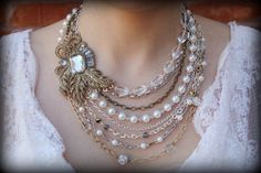 Items similar to Pearl Statement Necklace-Vintage Necklace-Bib Necklace-Wedding Jewelry-Bridal Necklace-Rhinestone Brooch-Pearl Necklace-Dream Day Designs on Etsy Old Jewelry, Antique Jewelry, Beaded Jewelry, Vintage Jewelry, Jewelry Necklaces, Jewelry Ideas, Etsy Jewelry, Vintage Necklaces, Vintage Lace